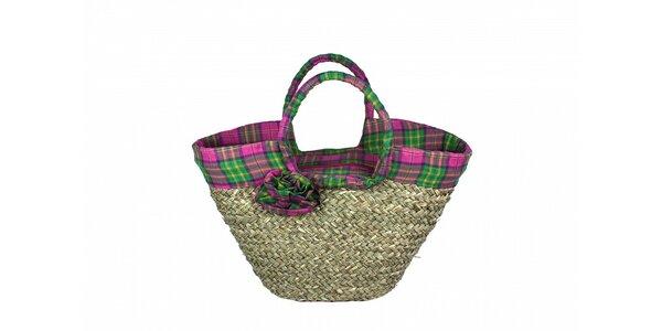 Dámská slaměná taška Tantra s růžovo-zeleným lemem