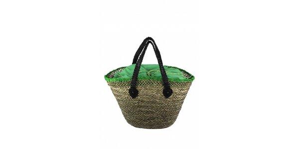 Dámská plážová taška z mořské trávy Tantra se zelenou vložkou