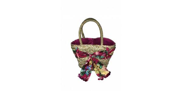Dámská plážová taška z mořské trávy Tantra s květovaným šátkem