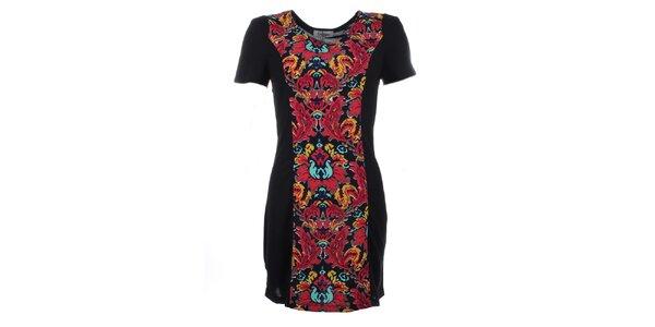 Dámské černé šaty s barevným květinovým potiskem Madam Rage