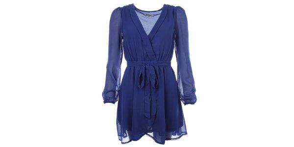 Dámské modré šaty se zavazováním v pase Madam Rage