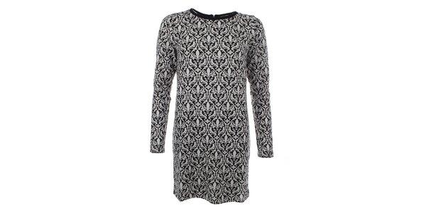 Dámský dlouhý svetr s elegantním černo-bílým vzorem Madam Rage