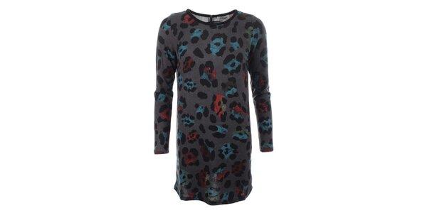 Dámský dlouhý šedý svetr s barevným vzorem Madam Rage