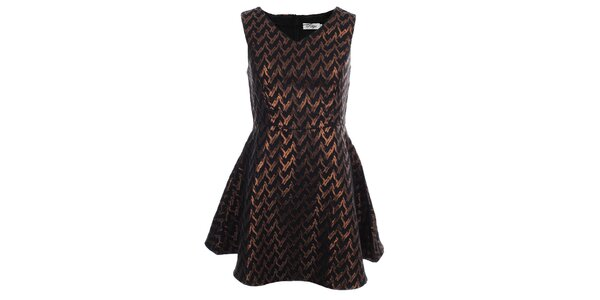 Dámské černé šaty se zlatým metalickým vzorem Madam Rage