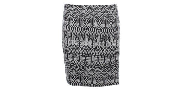 Dámská černo-bílá vzorovaná sukně se zipem Madam Rage