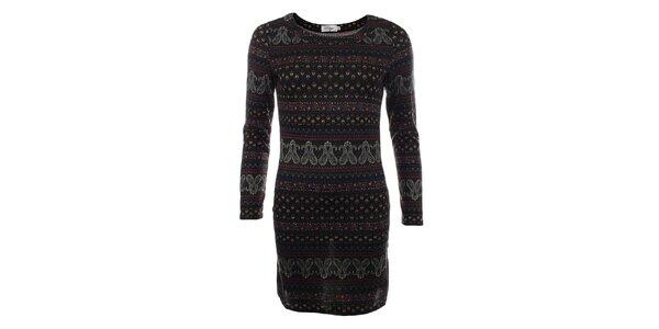 Dámský dlouhý černý svetr s barevným vzorem Madam Rage