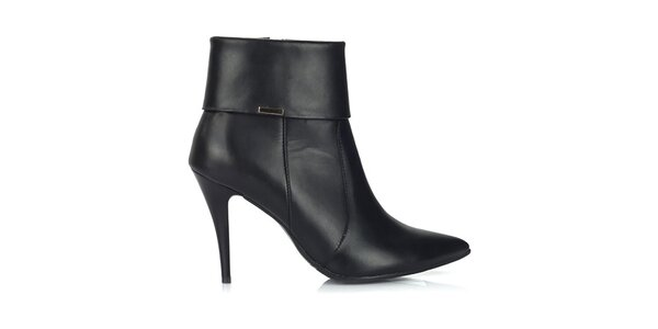 Dámské černé kožené boty na úzkém podpatku Joana and Paola