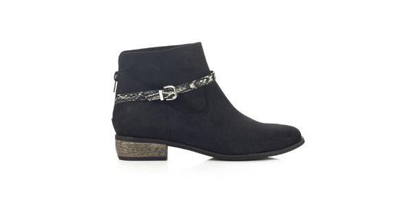Dámské černé kotníkové boty se vzorovaným páskem Joana and Paola