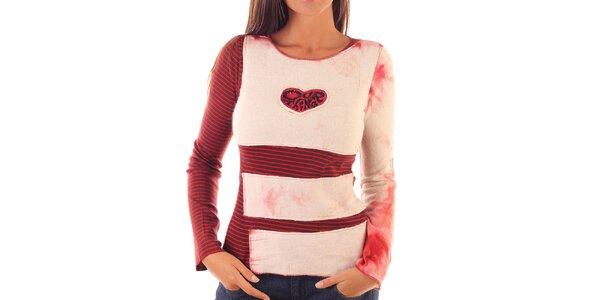 Dámské červeno-růžový svetřík s proužky Custo Barcelona