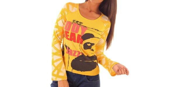 Dámské žluté tričko s potiskem pandy Custo Barcelona