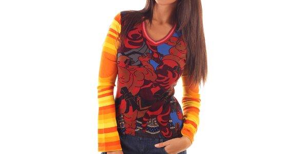 Dámské barevně vzorované tričko s dlouhým rukávem Custo Barcelona