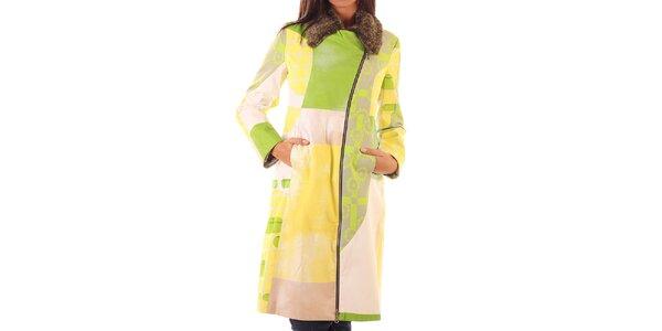 Dámský barevný kabát s kožíškovým límcem Custo Barcelona