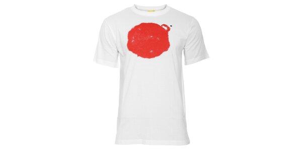 Bílé pánské tričko Humdrum s červeným potiskem