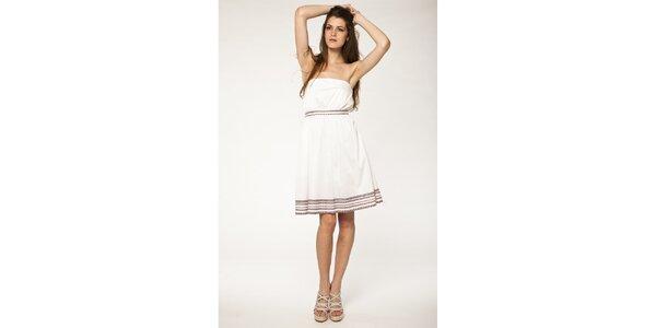 Dámské bílé šaty Tantra s hnědou krajkou