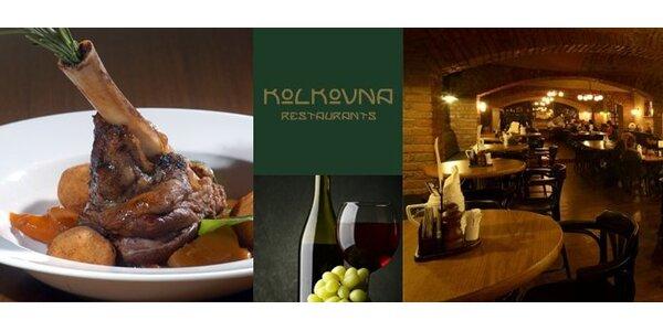 399 Kč za DVĚ pečená jehněčí kolínka a čtyři sklenky vína v Kolkovnách!
