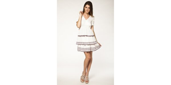 Dámské bílé šaty s volánky Tantra
