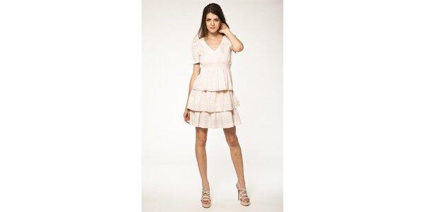 Dámské růžové šaty s volánky Tantra