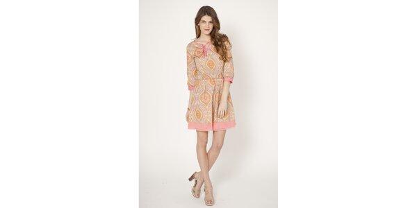 Dámské světle růžové šaty s potiskem Tantra