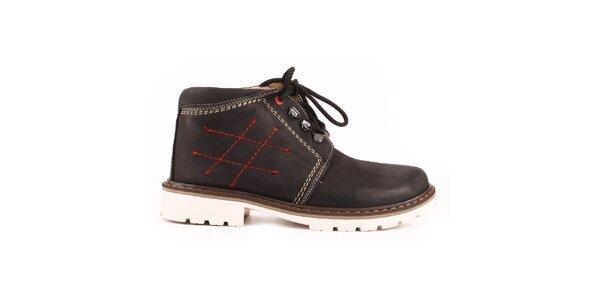 Dámské černé kotníkové boty se zateplením a prošíváním Maxim