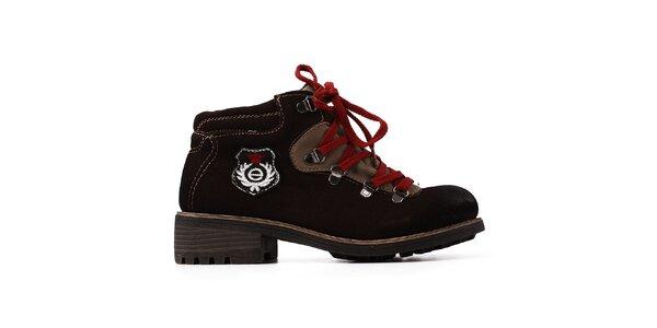 Dámské tmavě hnědé kožené boty s tkaničkami Elite