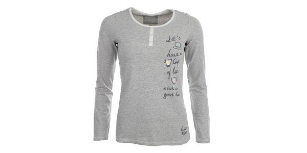 Dámské šedé pyžové tričko s nápisem Banana Moon