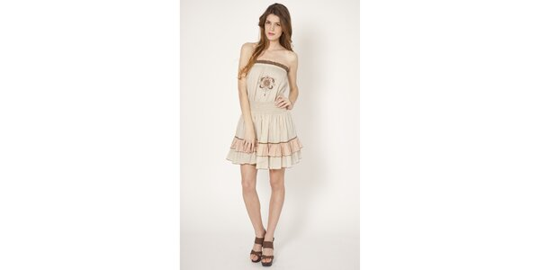 Dámské béžové bavlněné šaty Tantra s výšivkou