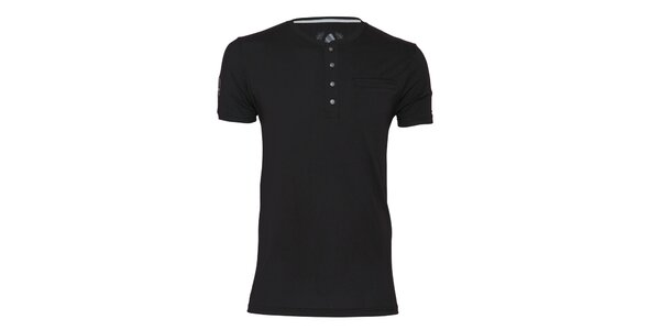 Pánské černé tričko s knoflíčky Paul Stragas