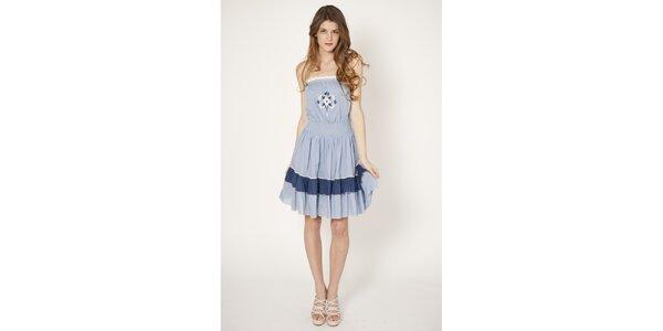Dámské modré bavlněné šaty Tantra s výšivkou