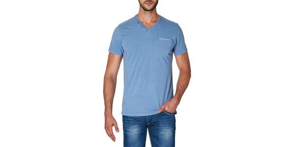 Pánské modré tričko s véčkovým výstřihem Paul Stragas