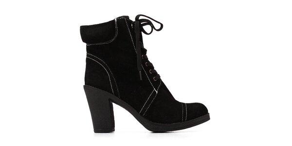 Dámské černé kotníkové zavazovací kozačky Elite Models Fashion