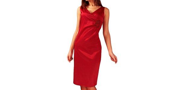 Dámské červené šaty s květinou Vera Fashion