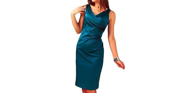 Dámské modré šaty s květinou Vera Fashion