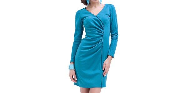 Dámské modré nařasené šaty s dlouhým rukávem Vera Fashion
