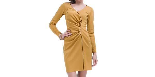Dámské nařasené šaty s dlouhým rukávem Vera Fashion