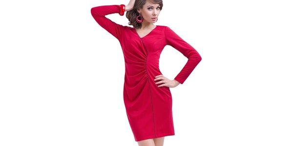 Dámské červené nařasené šaty s dlouhým rukávem Vera Fashion