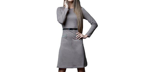 Dámské šaty s páskem a zipy Vera Fashion