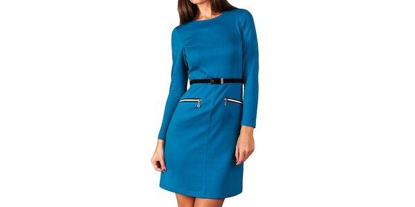 Dámské modré šaty s páskem a zipy Vera Fashion