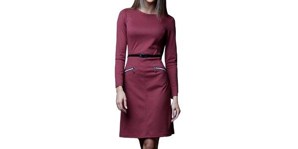 Dámské bordó šaty s páskem a zipy Vera Fashion
