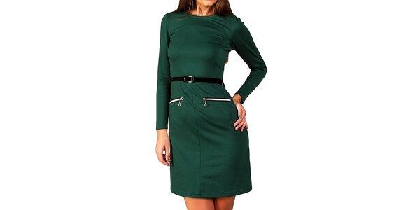 Dámské tmavě zelené šaty s páskem a zipy Vera Fashion
