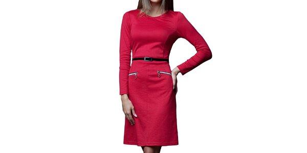 Dámské červené šaty s páskem a zipy Vera Fashion