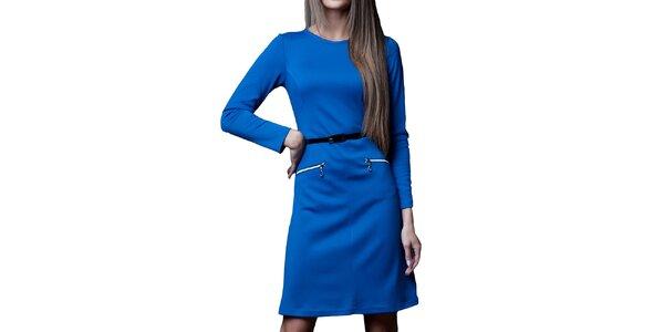 Dámské královsky modré šaty s páskem a zipy Vera Fashion