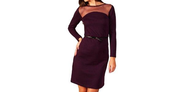 Dámské fialové šaty s transparentním dekoltem Vera Fashion