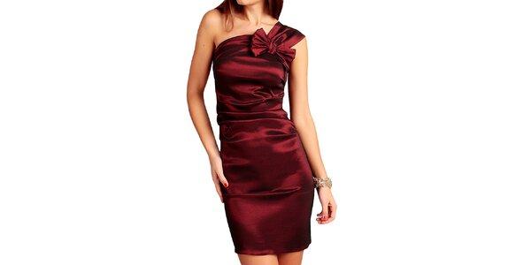 Dámské bordó šaty s mašlí Vera Fashion