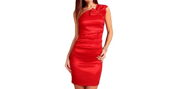 Dámské červené šaty s mašlí Vera Fashion