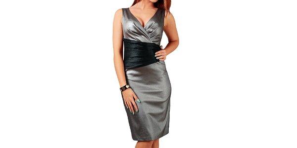 Dámské stříbrné šaty s černými prvky v pase Vera Fashion