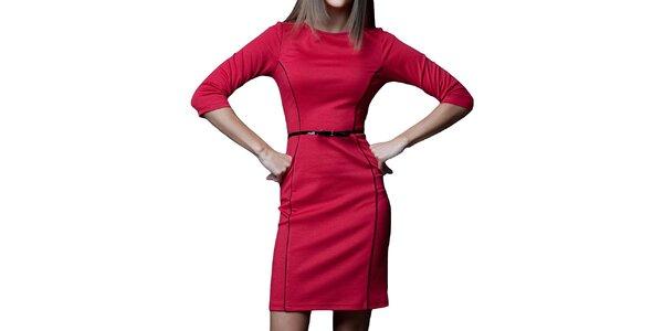 Dámské červené šaty s černými prvky Vera Fashion