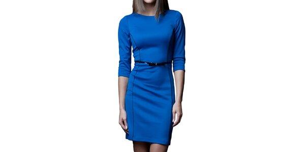 Dámské modré šaty s černými prvky Vera Fashion