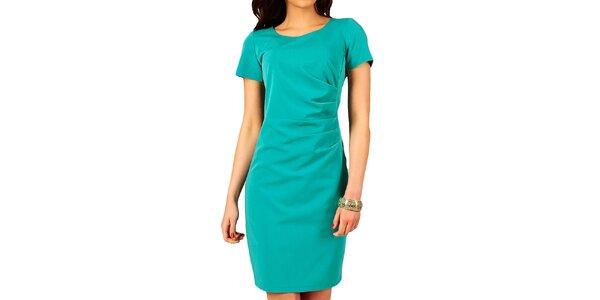 Dámské tyrkysové šaty s řasením na boku Vera Fashion