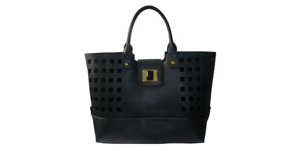 Dámská černá kabelka s kostkovanou perforací Gessy