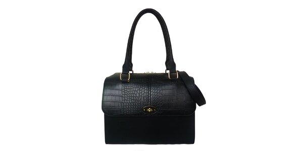 Dámská černá kabelka s proplétanými poutky Gessy